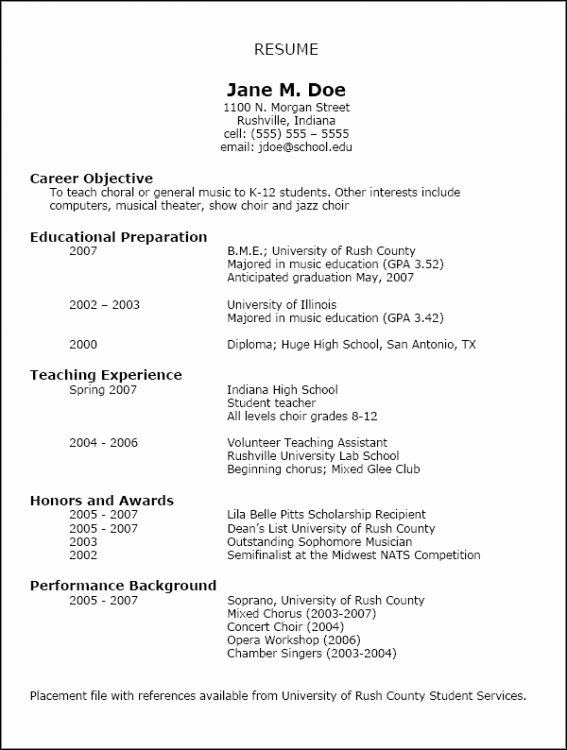 Music Teacher Resume Sample New Resumes Nafme