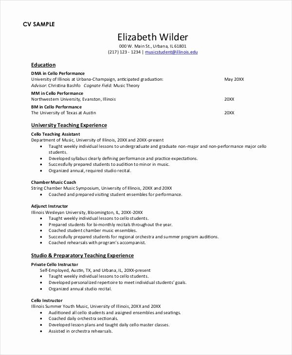 Music Teacher Resume Sample Unique Teacher Resume Examples 23 Free Word Pdf Documents