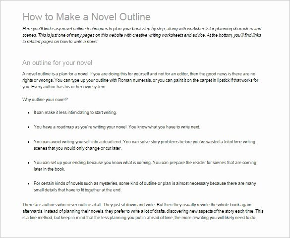 Mystery Novel Outline Template New 7 Novel Outline Templates Doc Pdf Excel