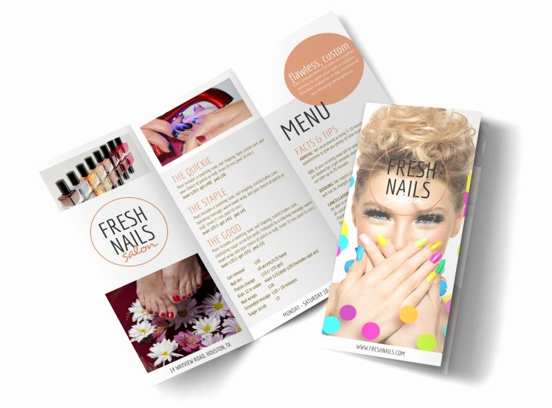 Nail Price List Template Awesome Fresh Nail Salon Price List Tri Fold Brochure Template