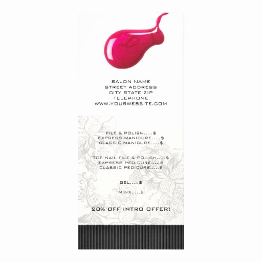 Nail Price List Template Awesome Nail Salon Price List Rack Cards