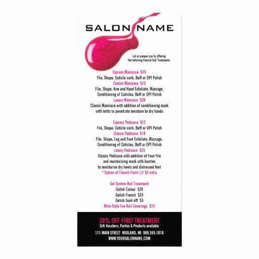 Nail Price List Template Best Of Nail Salon Price List Rack Cards