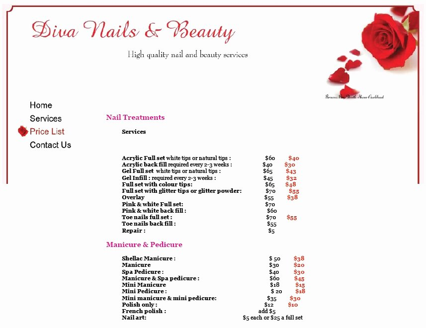 Nail Price List Template Fresh 8 Free Sample Nail Services Salon Price List Templates