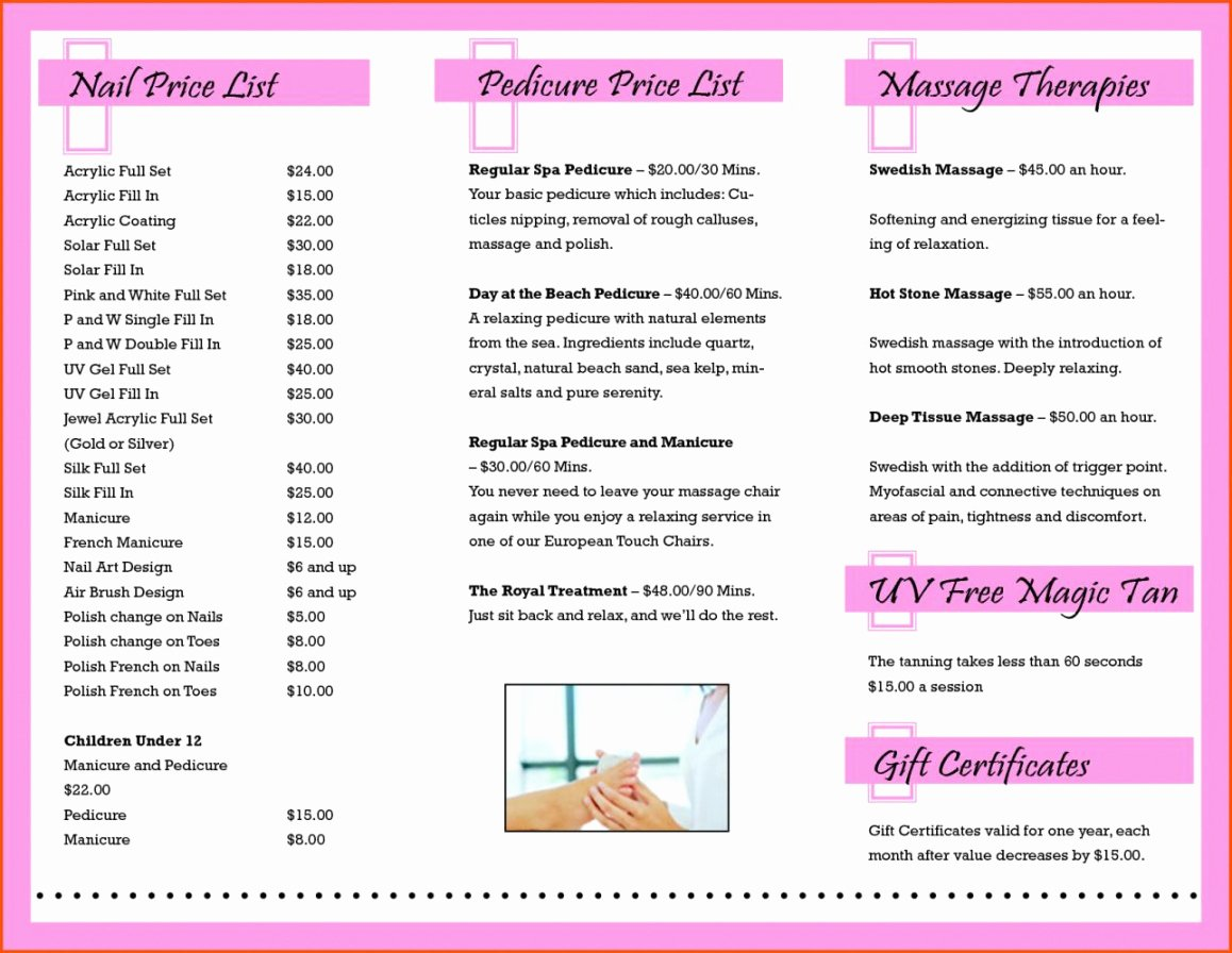 Nail Price List Template Lovely Nail Salon Price List Template