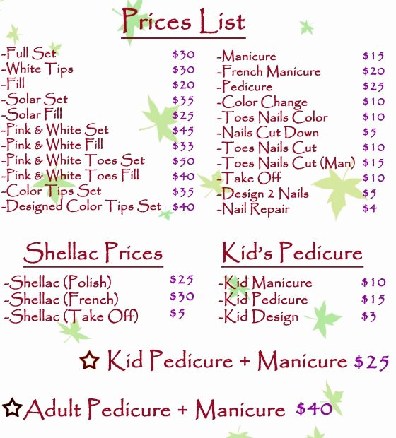 Nail Price List Template Lovely Price List for Nails Salon Pinterest