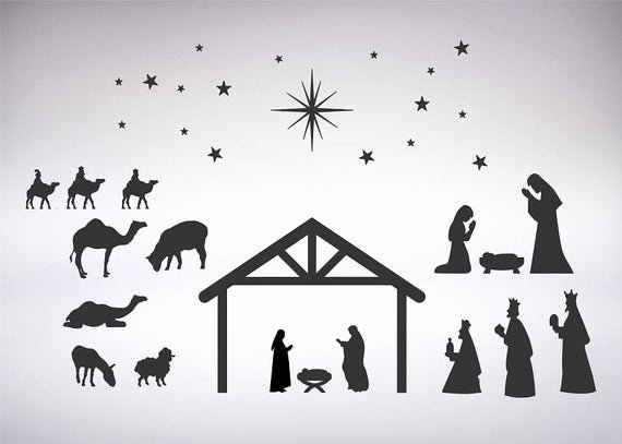 Nativity Scene Silhouette Printable Beautiful Nativity Scene Silhouette for Vinyl Crafts Scrapbooking