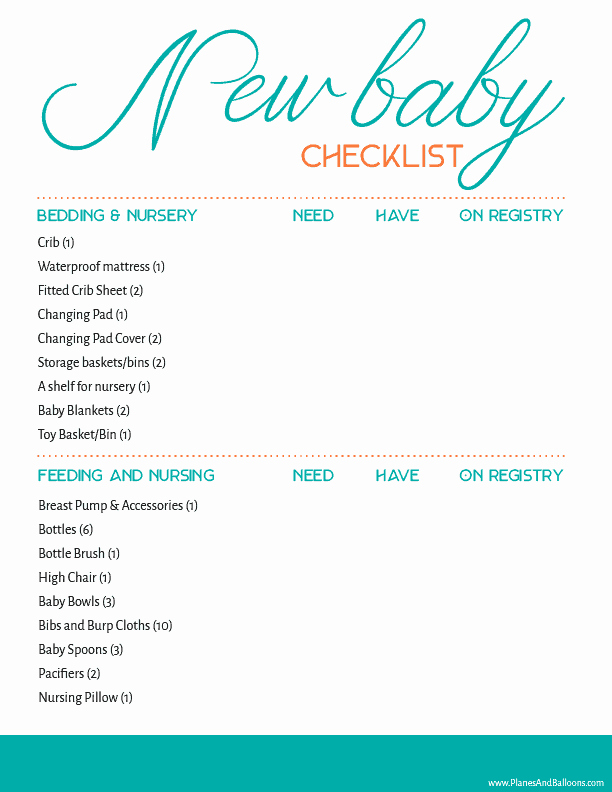 New Baby Checklist Printable Awesome Newborn Baby Checklist Printable Every New Mom Needs