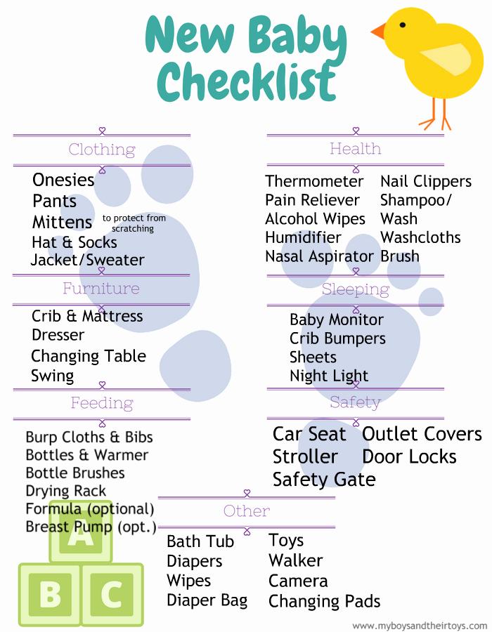 New Baby Checklist Printable Elegant New Baby Checklist Printable My Boys and their toys