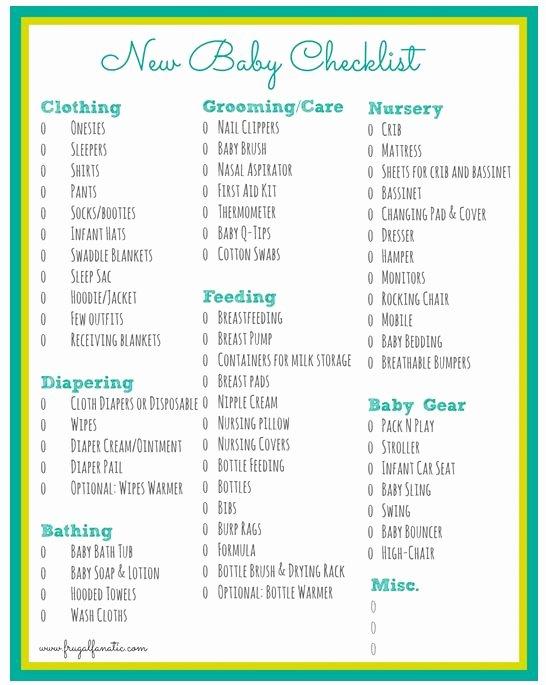 New Baby Checklist Printable Unique Baby Checklist Free Printable Frugal Fanatic