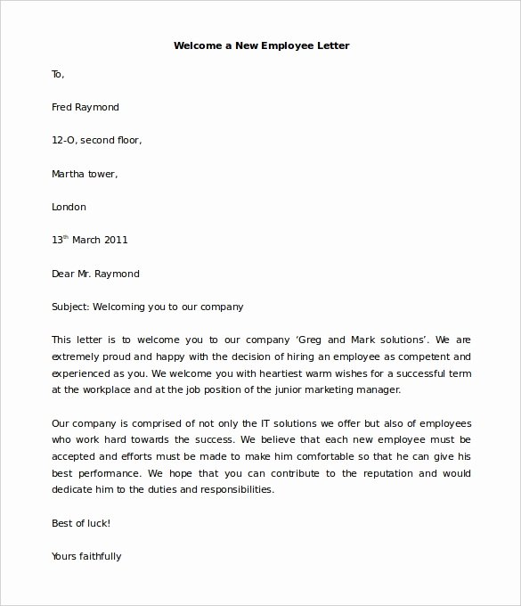 New Employee Welcome Letter Luxury 21 Hr Wel E Letter Templates Doc Pdf