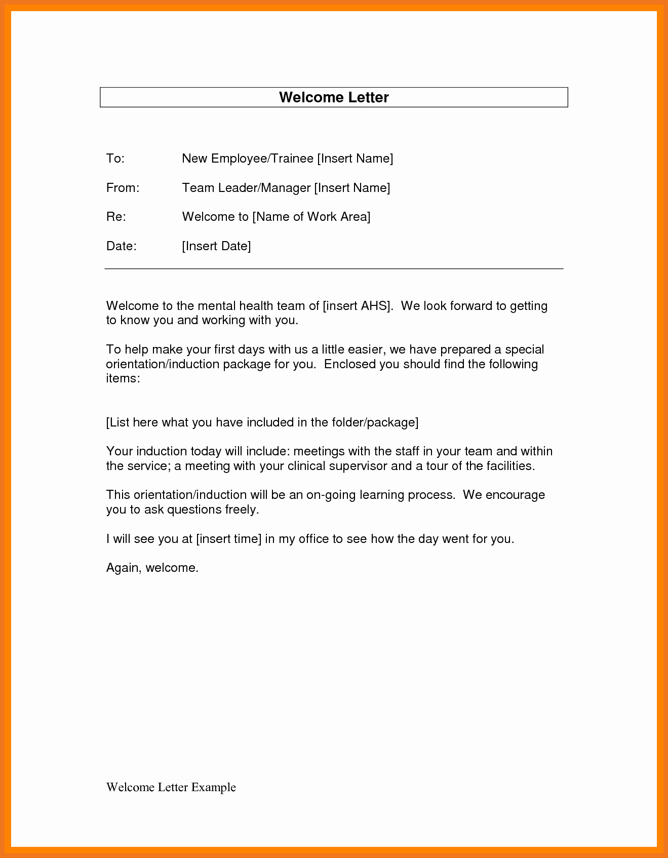 New Employee Welcome Letter New 6 7 Wel E Letter to New Employee