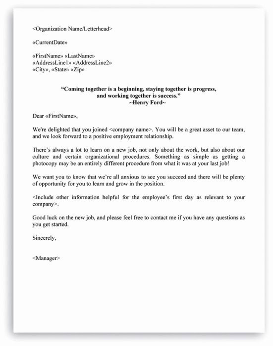 New Employee Welcome Letter New 8 Best Images About Hr Letter formats On Pinterest