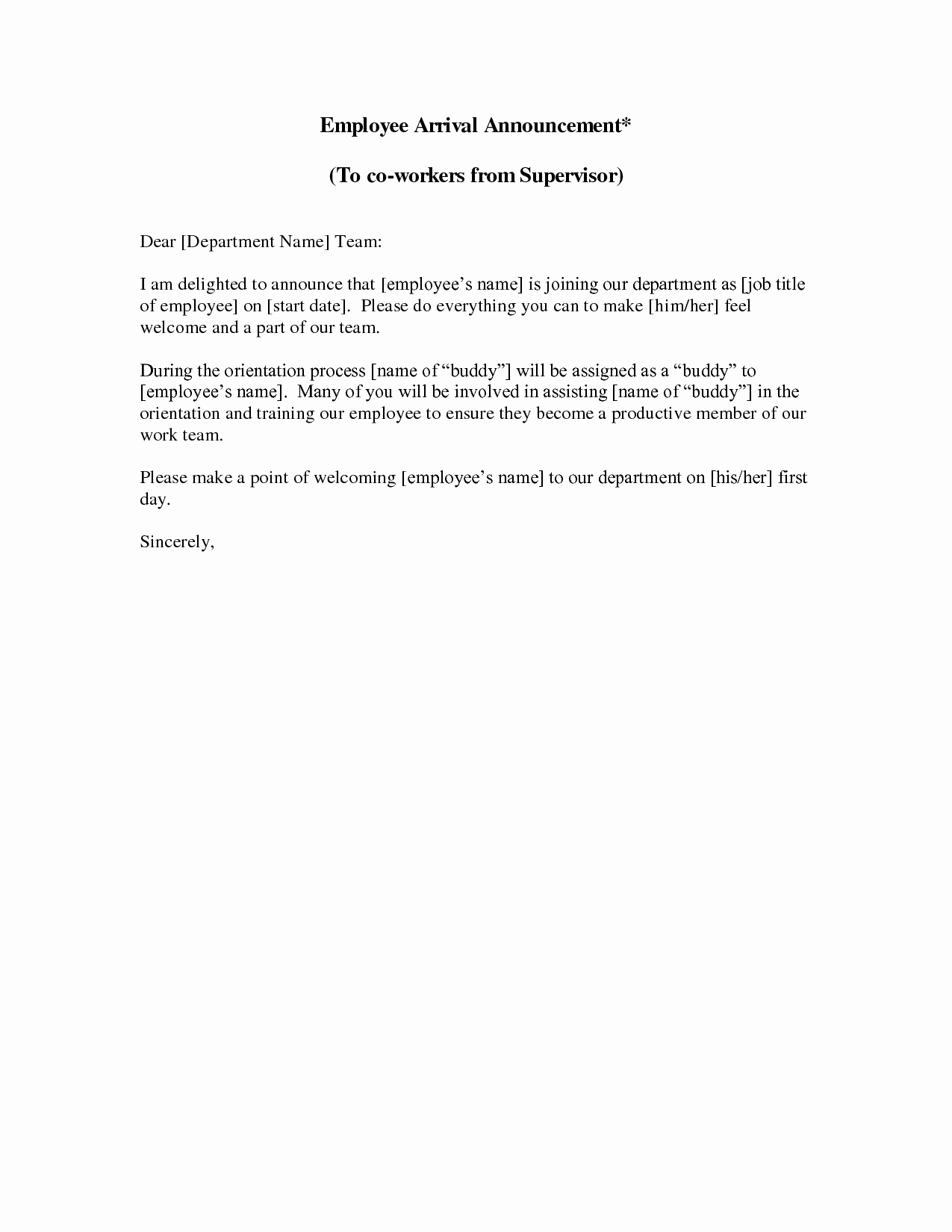 New Employee Welcome Letter New New Employee Announcement Letter This Sample New