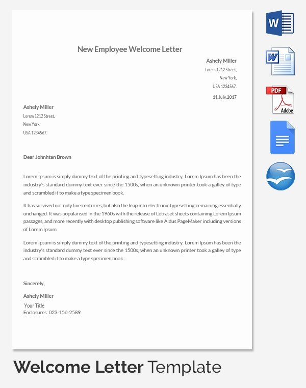 New Employee Welcome Letter Unique 31 Hr Wel E Letter Template Free Sample Example