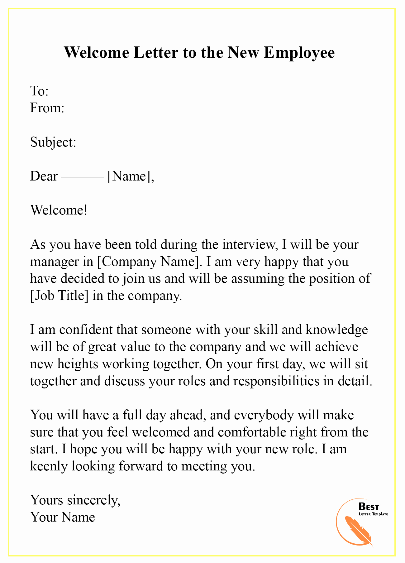 New Employee Welcome Letter Unique Wel E Letter Template – format Sample & Example