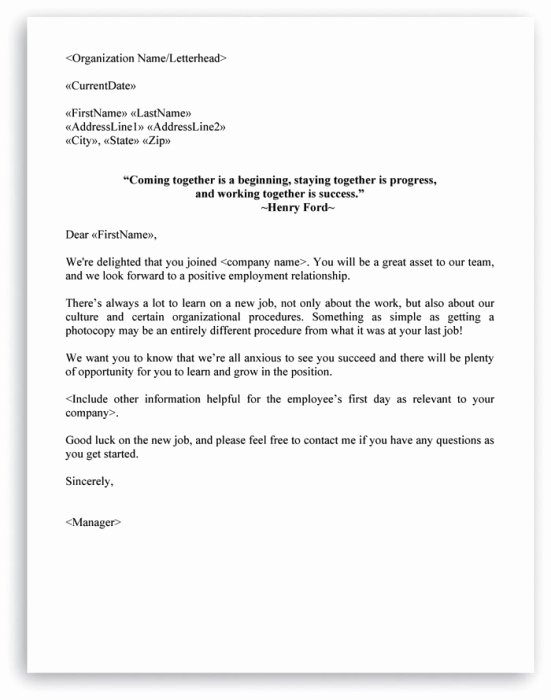 New Hire Letter Samples Awesome New Hire Checklist and Wel E Letter Included In Hr Letters