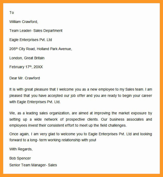 New Hire Letter Samples Elegant 12 13 New Employee Wel E Letter Sample Template