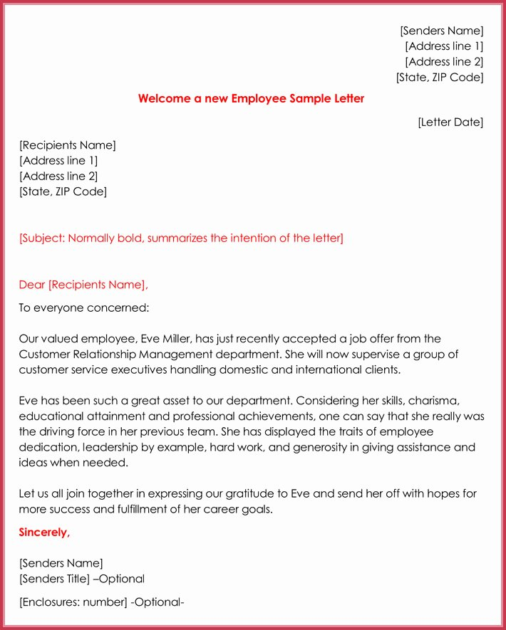New Hire Letter Samples Unique Wel E Letter Templates 20 Printable Samples & formats