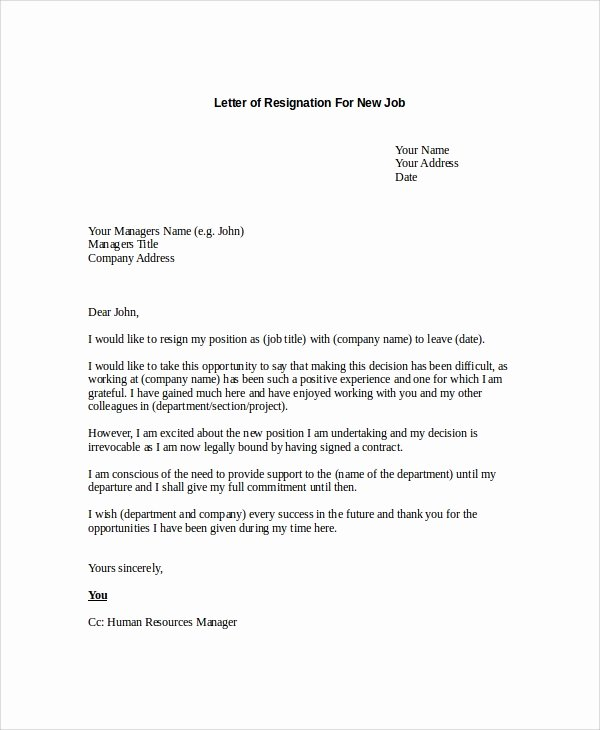 New Job Resignation Letter Best Of 17 Letter Of Resignation Samples Pdf Word Apple Pages