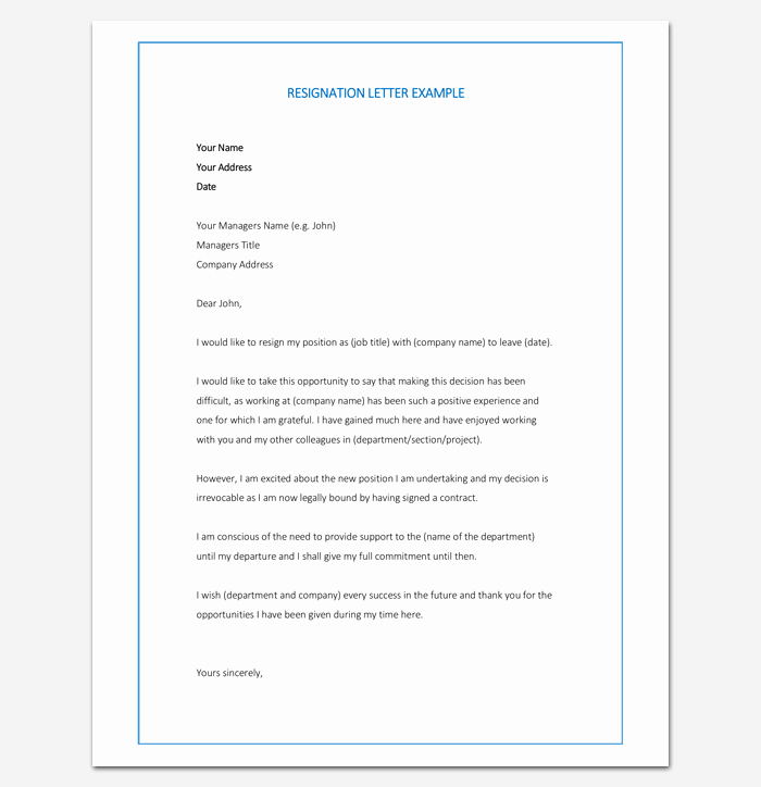 New Job Resignation Letter Elegant Resignation Letter Template format & Sample Letters with