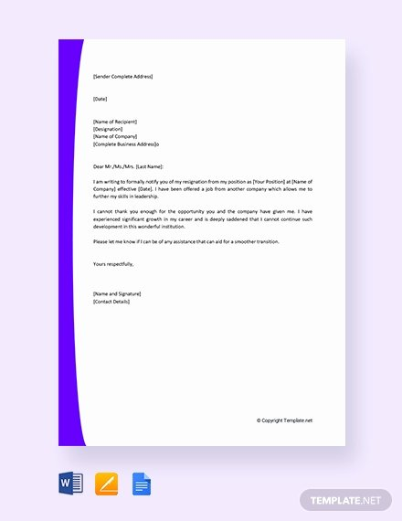 New Job Resignation Letter Unique 1636 Free Word Letter Templates