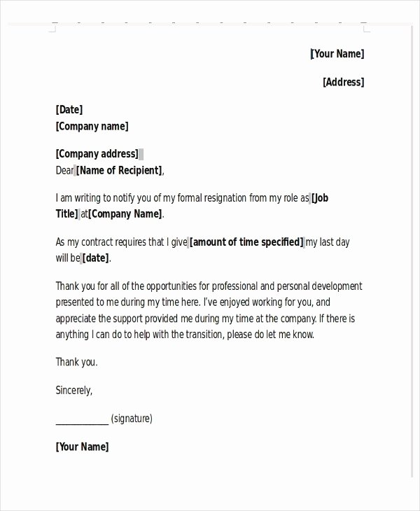 New Job Resignation Letter Unique Professional Resignation Letter Uk