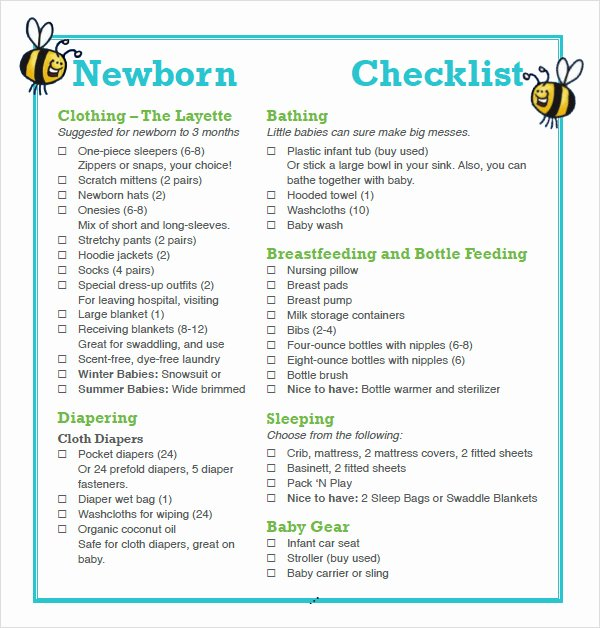Newborn Essentials Checklist Elegant Free 9 Newborn Checklist Samples In Google Docs