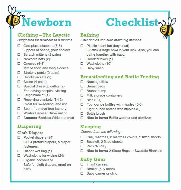 Newborn Essentials Checklist Elegant Free 9 Newborn Checklist Samples In Google Docs