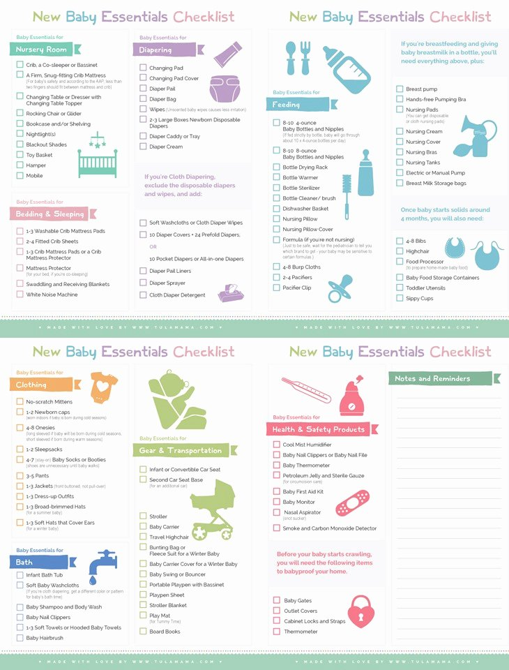 Newborn Essentials Checklist Elegant New Baby Essentials Checklist Tulamama