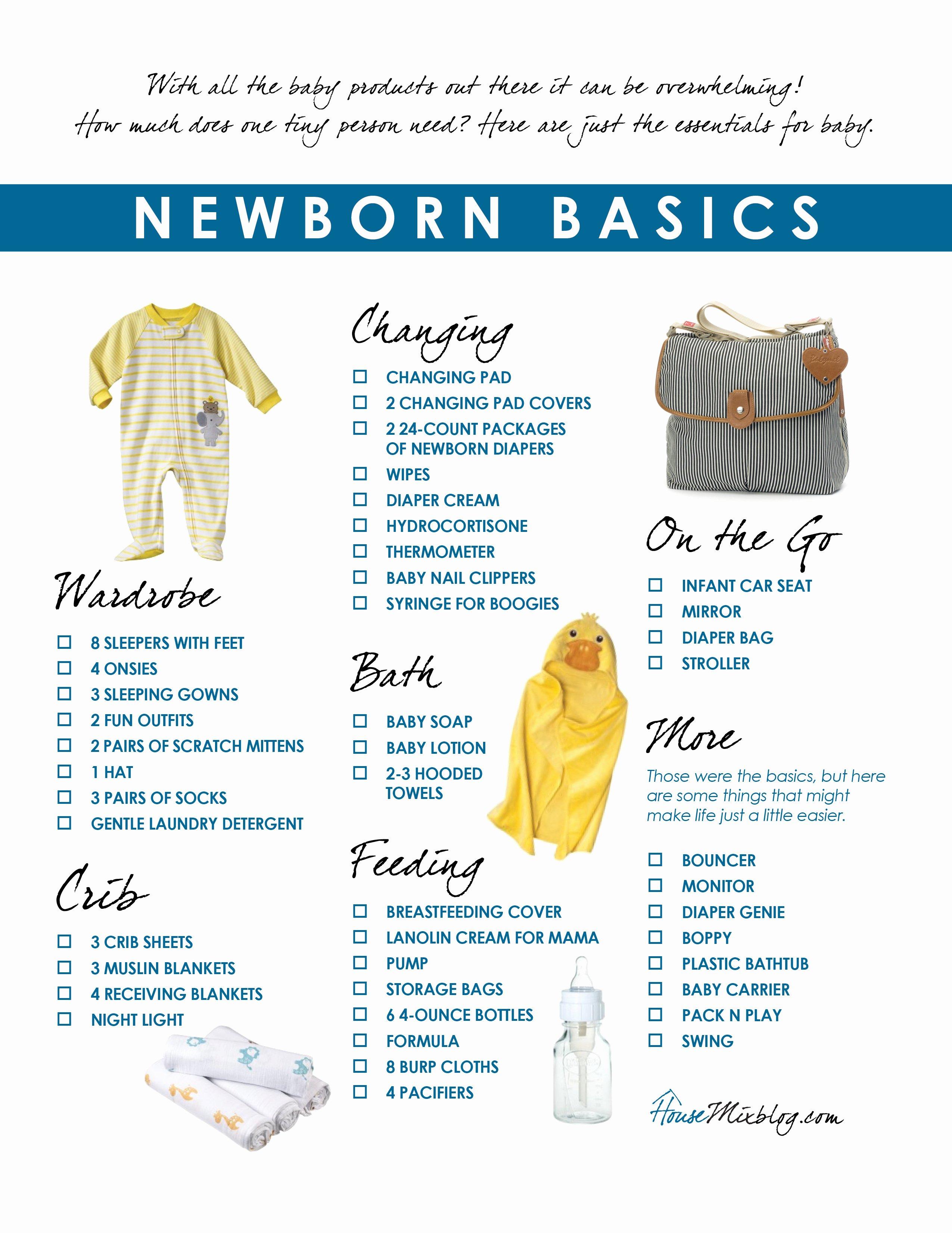 Newborn Essentials Checklist Fresh Newborn Basics Registry Checklist