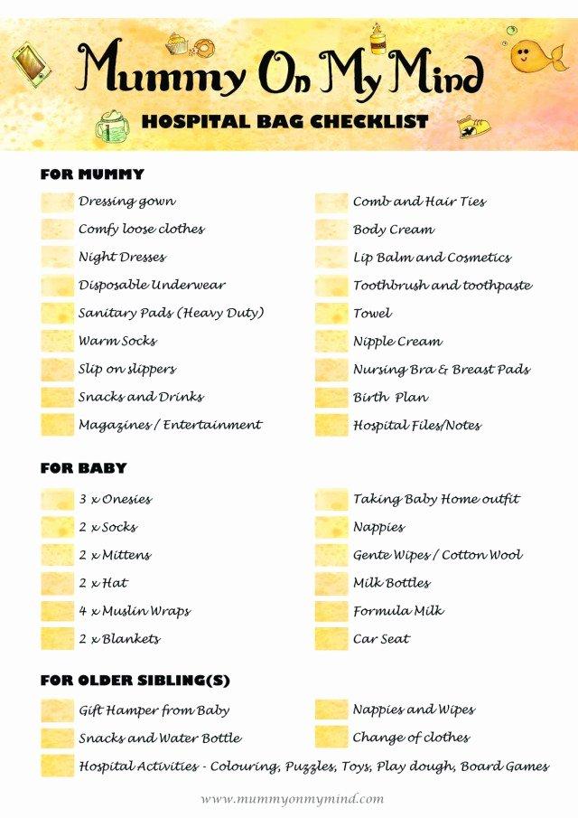 Newborn Essentials Checklist Luxury Hospital Bag and Newborn Essentials Checklists Free