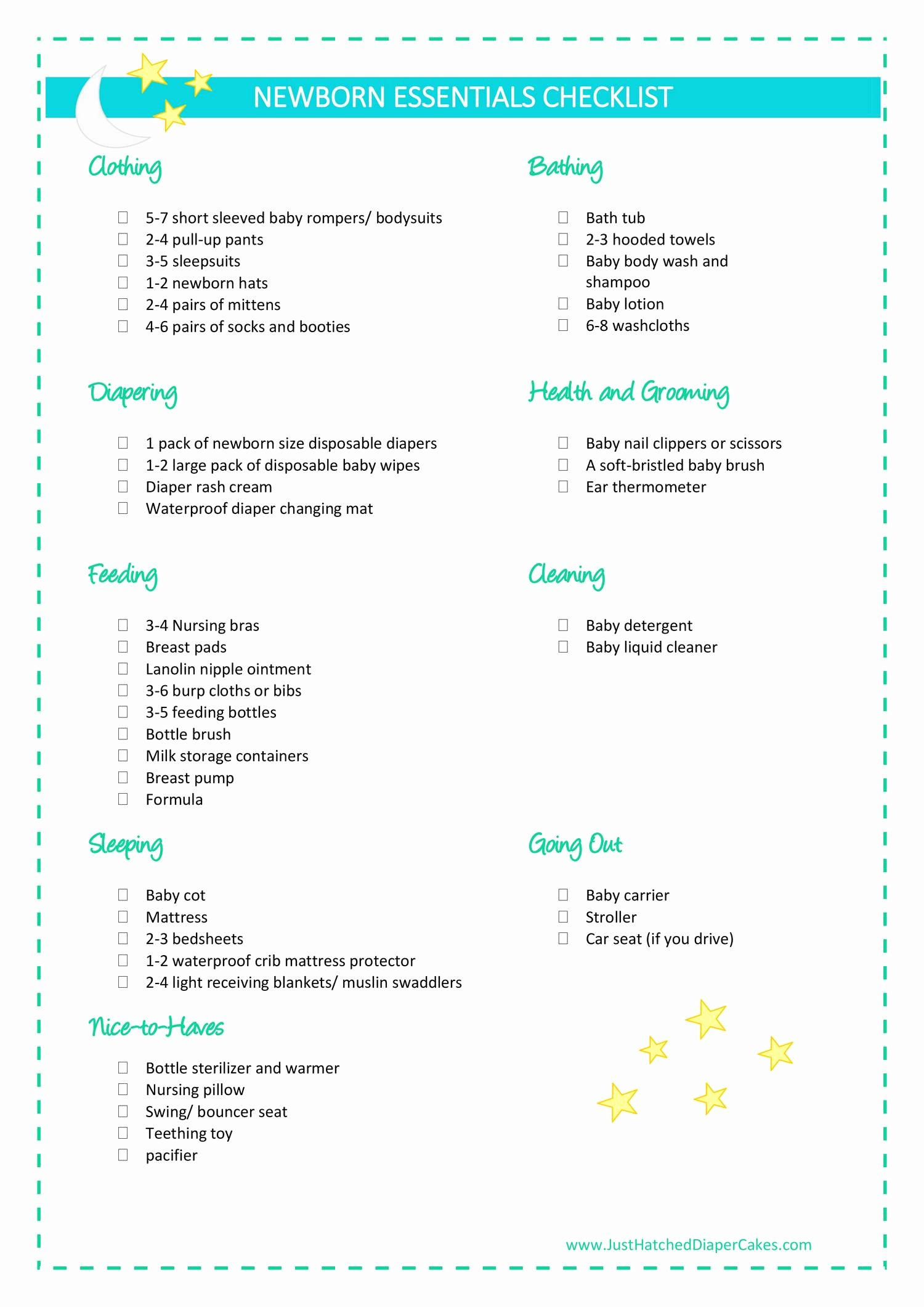 Newborn Essentials Checklist New Newborn Essentials Checklist Pdf
