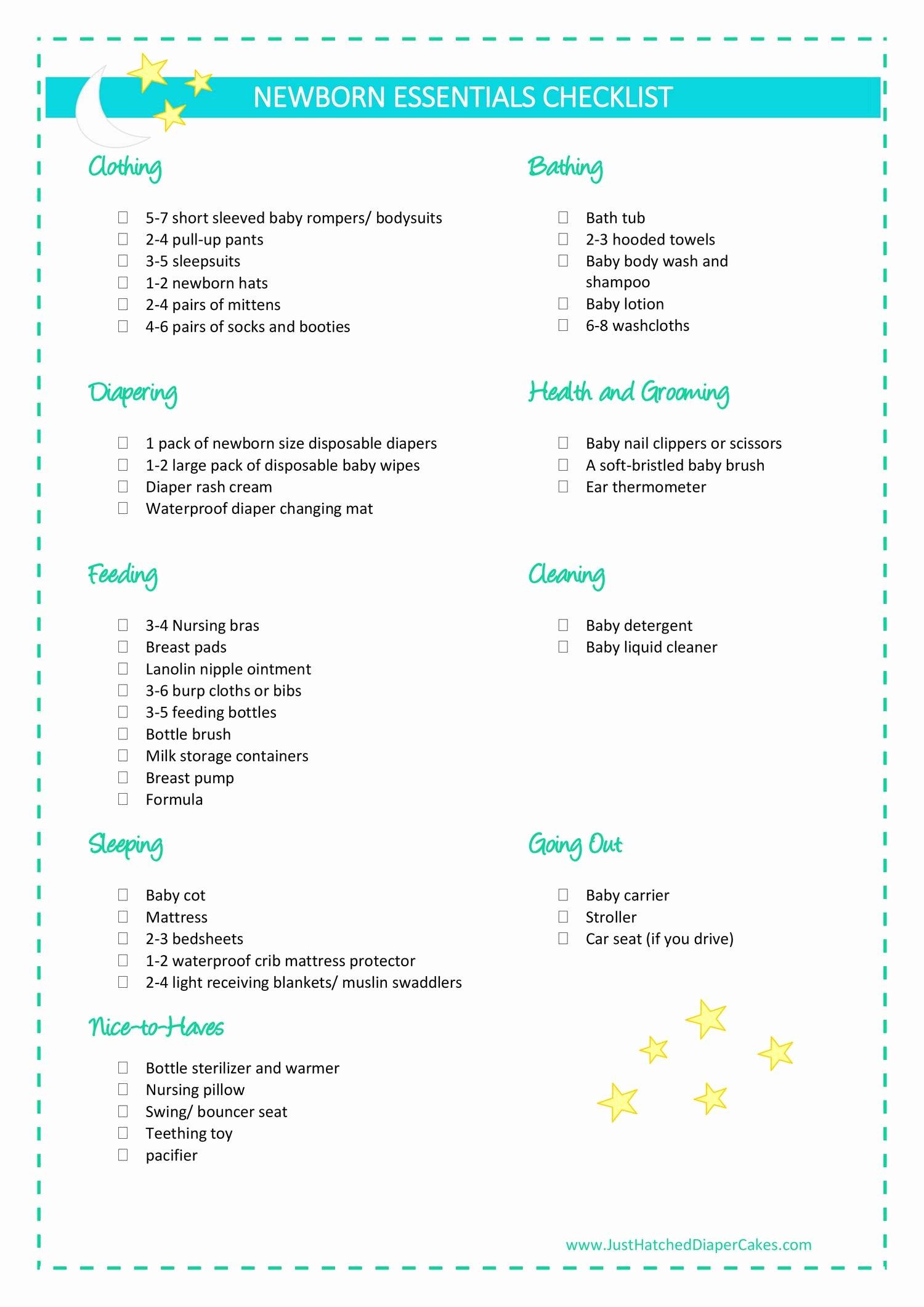 Newborn Essentials Checklist New Newborn Essentials Checklist Pdf