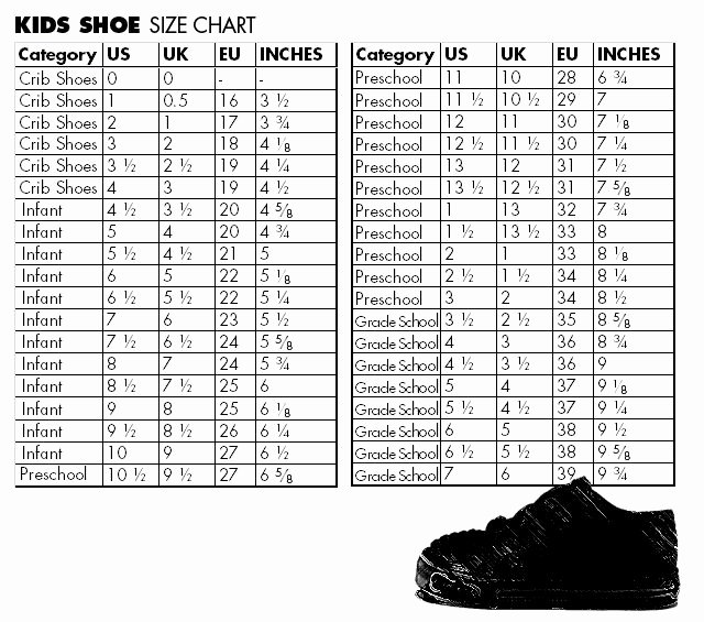 Newborn Shoes Size Chart Awesome 12 Best Kids Sizing Charts Images On Pinterest