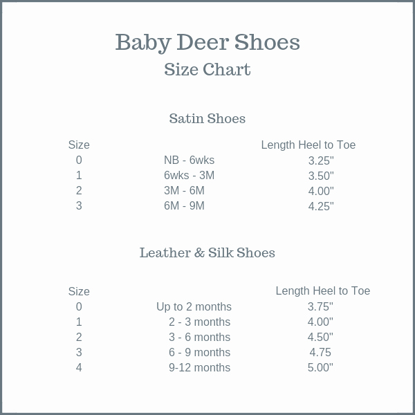 Newborn Shoes Size Chart Awesome Baby Deer Shoes Size Chart