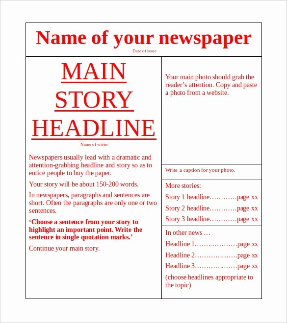 Newspaper Article Template for Students Beautiful Microsoft Templates – 18 Free Word Excel Ppt Pub