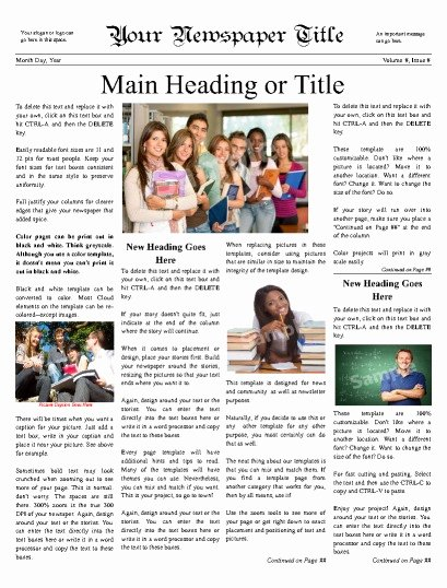 Newspaper Article Template for Students Lovely Classroom Newspaper Templates