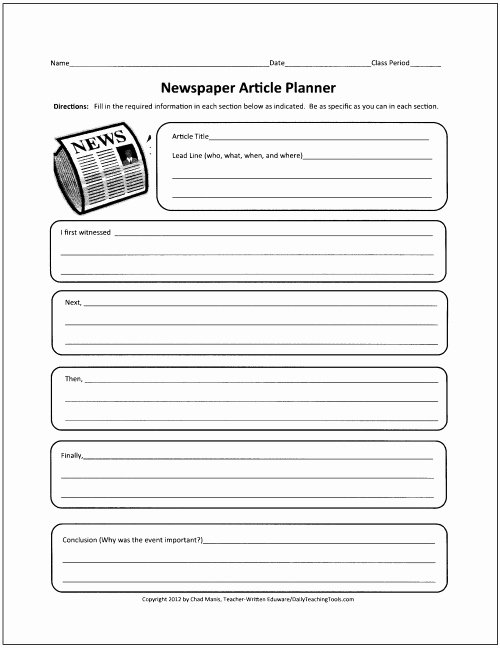 Newspaper Article Template for Students Luxury Free Graphic organizers for Teaching Writing
