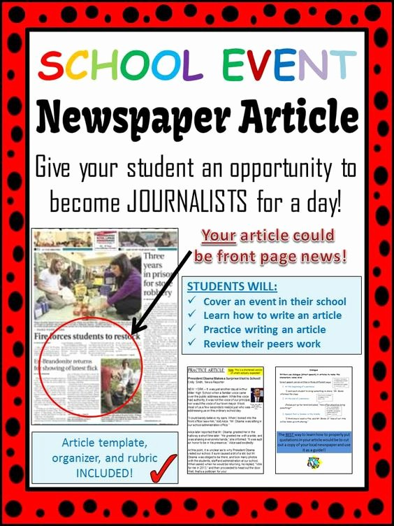 Newspaper Article Template for Students New School event Newspaper Article Peer Review Template