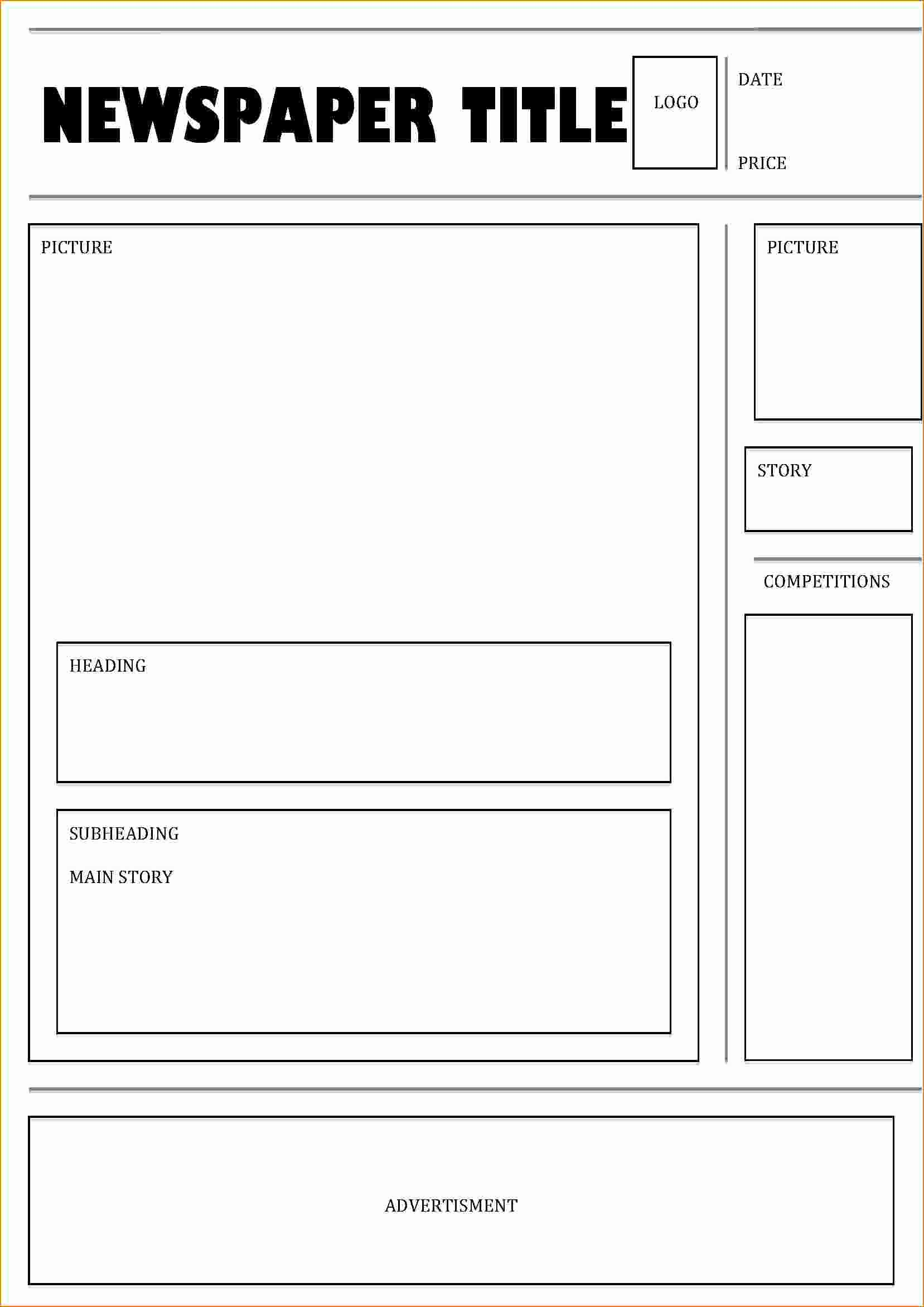 Newspaper Article Template for Students Unique 4 News Paper Template