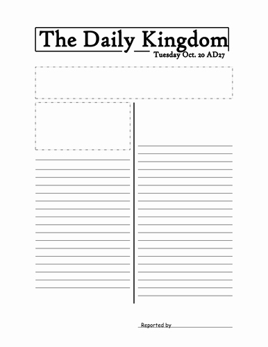 Newspaper Article Template for Students Unique Newspaper Template by Jmurphy37 Teaching Resources Tes