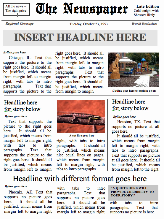 Newspaper Front Page Template Beautiful Buildanewspaper – Easy to Use Newspaper Templates