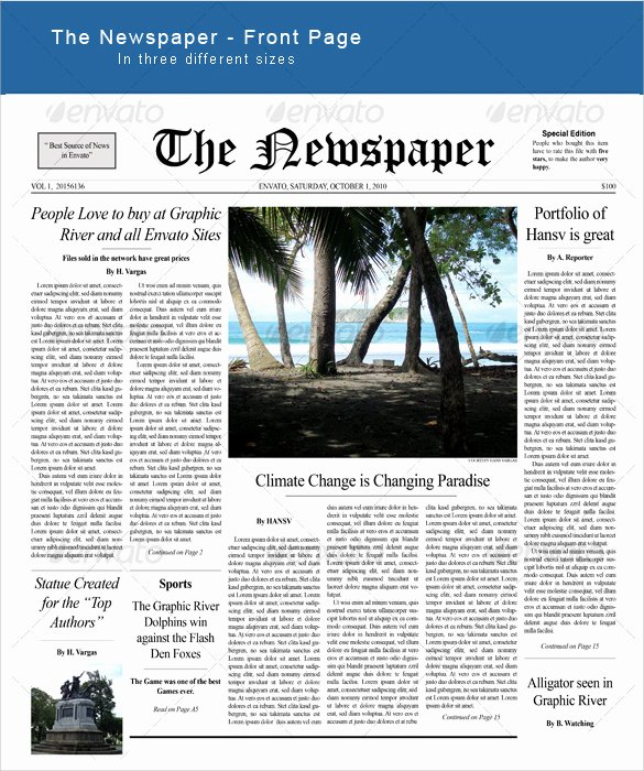 Newspaper Front Page Template Best Of Sample Newspaper Front Page 5 Documents In Word Pdf Psd