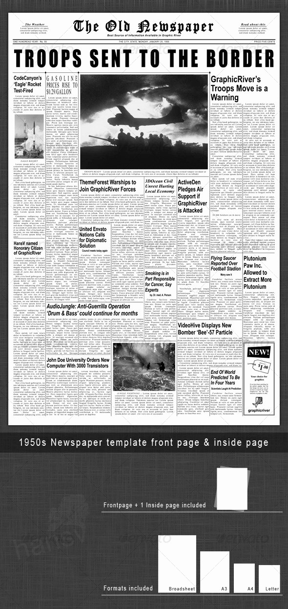 Newspaper Front Page Template Fresh 1950s Newspaper Template Front Page & Inside Page by Hansv