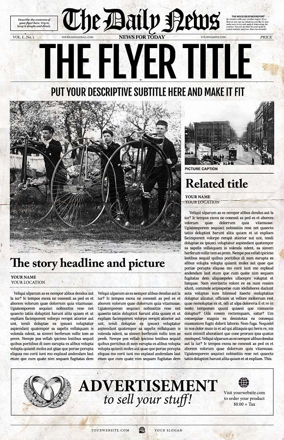 Newspaper Front Page Template Lovely Front Page Newspaper Template Flyer Templates Creative