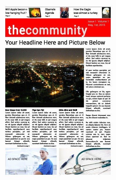 Newspaper Front Page Template New Free Newspaper Templates Print and Digital