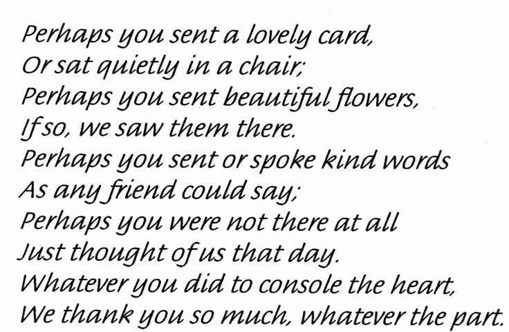 Newspaper Thank Yous after Funeral Awesome Death Of A Loved E Thank You Poem Funeral