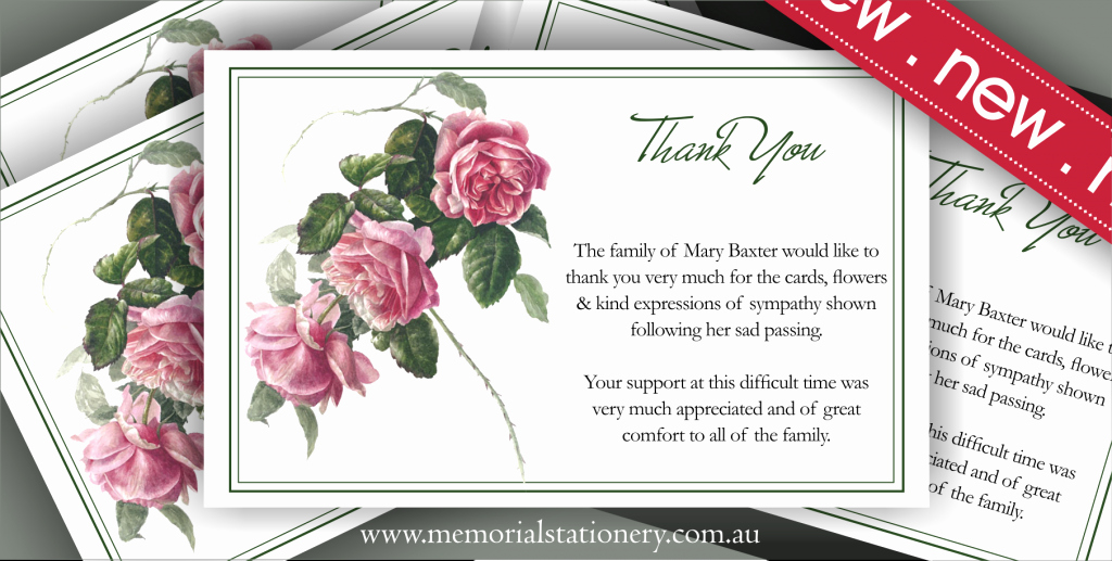 Newspaper Thank Yous after Funeral Beautiful New Personalized Antique Tea Rose Sympathy Thank You Card