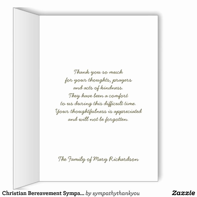 Newspaper Thank Yous after Funeral Fresh Christian Bereavement Sympathy Thank You Card