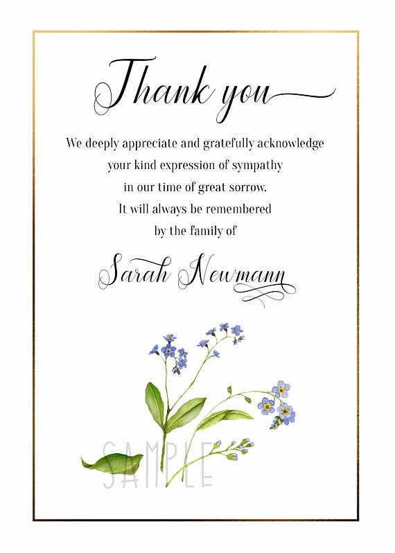 Newspaper Thank Yous after Funeral Lovely for Me Not Floral Funeral Thank You Card Sympathy